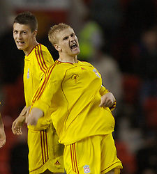 Manchester, England - Thursday, April 26, 2007: Liverpool's Robbie Threlfall celebrates after scoring his side's fourth penalty-kick against Manchester United's goalkeeper Ron-Robert Zieler during the shoot-out to decide the FA Youth Cup Final 2nd Leg at Old Trafford. (Pic by David Rawcliffe/Propaganda)