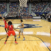 HARTFORD, CONNECTICUT- DECEMBER 19:  Katie Lou Samuelson #33 of the Connecticut Huskies shoots for three while challenged by Sierra Calhoun #4 of the Ohio State Buckeyes during the UConn Huskies Vs Ohio State Buckeyes, NCAA Women's Basketball game on December 19th, 2016 at the XL Center, Hartford, Connecticut (Photo by Tim Clayton/Corbis via Getty Images)