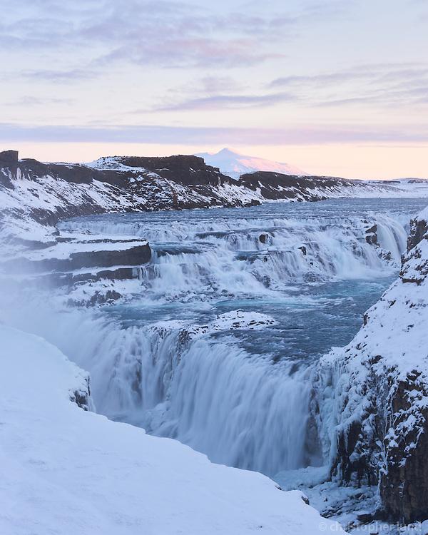 Gullfoss waterfall in winter. South Iceland.
