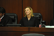 U.S. District judge Sharion Aycock attends a naturalization ceremony in federal court in Oxford, Miss. on Friday, June 29, 2012. Forty seven persons took the oath of citizenship.