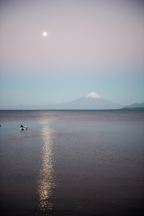 Lone Boat with Mountain in Background, Puerto Varas, Chile