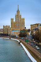"""MOSCOW - CIRCA MARCH 2013: View of one the famous """"Seven Sisters"""" or Stalinskie Vysotki Building in Moscow, circa 2013. With a population of more than 11 million people is one the largest cities in the world and a popular tourist destination."""