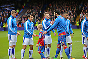 Leicester City forward Jamie Vardy (9) in pre match handshake during the Barclays Premier League match between Crystal Palace and Leicester City at Selhurst Park, London, England on 19 March 2016. Photo by Phil Duncan.