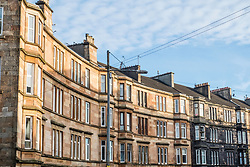 View of typical  sandstone tenement apartment building in Govanhill district of Glasgow, Scotland, United Kingdom