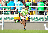 LONDON, ENGLAND - Saturday 10 May 2014, Seabelo Senatla of South Africa races towards the try line during the match between South Africa and Scotland at the Marriott London Sevens rugby tournament being held at Twickenham Rugby Stadium in London as part of the HSBC Sevens World Series.<br /> Photo by Roger Sedres/ImageSA