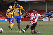 Hayden White and Jordan Cranston during the EFL Sky Bet League 2 match between Cheltenham Town and Mansfield Town at Whaddon Road, Cheltenham, England on 4 March 2017. Photo by Antony Thompson.