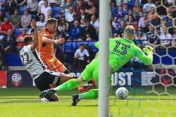 Barry Douglas of Wolverhampton Wanderers scores his sides first goal - Mandatory by-line: Matt McNulty/JMP - 21/04/2018 - FOOTBALL - Macron Stadium - Bolton, England - Bolton Wanderers v Wolverhampton Wanderers - Sky Bet Championship