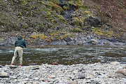 Salmon fishing in the pool Réttarstrengur in river Hrútafjarðará. North Iceland