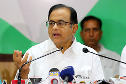 May 4, 2019 - Jaipur, Rajasthan, India - Congress Senior Leader P. Chidambaram addressing the  media person during the press conference at PCC office ahead the Lok Sabha Polls in Jaipur, Rajasthan, India on May 04,2019.(Photo By Vishal Bhatnagar/NurPhoto) (Credit Image: © Vishal Bhatnagar/NurPhoto via ZUMA Press)