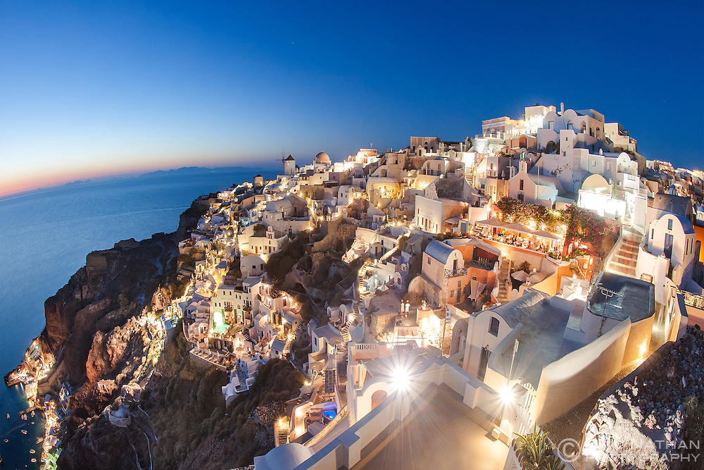 Houses of the village of Oia on the Greek island of Santorini.