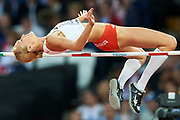 Great Britain, London - 2017 August 10: Kamila Licwinko (Podlasie Bialystok) of Poland  competes in women's high jump qualification during IAAF World Championships London 2017 Day 7 at London Stadium on August 10, 2017 in London, Great Britain.<br /> <br /> Mandatory credit:<br /> Photo by &copy; Adam Nurkiewicz<br /> <br /> Adam Nurkiewicz declares that he has no rights to the image of people at the photographs of his authorship.<br /> <br /> Picture also available in RAW (NEF) or TIFF format on special request.<br /> <br /> Any editorial, commercial or promotional use requires written permission from the author of image.