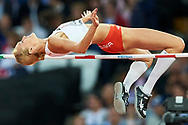Great Britain, London - 2017 August 10: Kamila Licwinko (Podlasie Bialystok) of Poland  competes in women's high jump qualification during IAAF World Championships London 2017 Day 7 at London Stadium on August 10, 2017 in London, Great Britain.<br /> <br /> Mandatory credit:<br /> Photo by © Adam Nurkiewicz<br /> <br /> Adam Nurkiewicz declares that he has no rights to the image of people at the photographs of his authorship.<br /> <br /> Picture also available in RAW (NEF) or TIFF format on special request.<br /> <br /> Any editorial, commercial or promotional use requires written permission from the author of image.