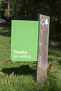 Thanks for visiting sign leaving forestry plantation, Rendlesham Forest, Suffolk, England, UK