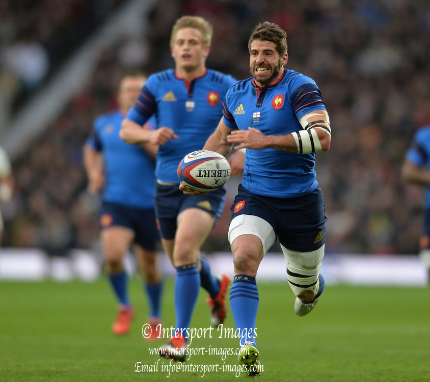 Twickenham, Great Britain, Sebastien TILLOUS-BORDE running with the ball during the Six Nations Rugby England vs France, played at the RFU Stadium, Twickenham, ENGLAND. <br /> <br /> Saturday   21/03/2015<br /> <br /> [Mandatory Credit; Peter Spurrier/Intersport-images]