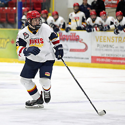 WELLINGTON, ON - JANUARY 18: Zach Nelson #3 of the Wellington Dukes in the third period on January 18, 2019 at Wellington and District Community Centre in Wellington, Ontario, Canada.<br /> (Photo by Ed McPherson / OJHL Images)