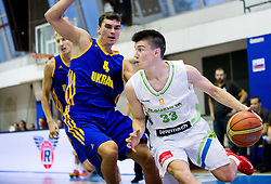 Maksym Pustozvonov of Ukraine vs Matic Rebec of Slovenia during friendly basketball match between National teams of Slovenia and Ukraine at day 3 of Adecco Cup 2014, on July 26, 2014 in Rogaska Slatina, Slovenia. Photo by Vid Ponikvar / Sportida.com