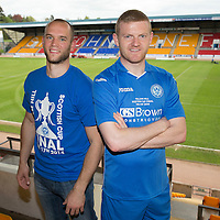 FOR SUNDAY PAPERS ONLY....<br /> St Johnstone's Alan Mannus and Brian Easton pictured at McDiarmid Park ahead of the William Hill Scottish Cup Final against Dundee United on the 17th May 2014.<br /> Picture by Graeme Hart.<br /> Copyright Perthshire Picture Agency<br /> Tel: 01738 623350  Mobile: 07990 594431