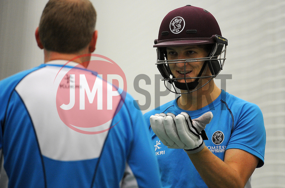 Somerset's Max Waller- Photo mandatory by-line: {Harry Trump/JMP} - Mobile: 07966 386802 - 12/02/15 - SPORT - Cricket - The County Ground, Taunton, England - Somerset Training Session