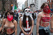4/26/2015--Protesters rally from Washington Square to UN, NYC, in support of the visit of the Parents of the missing students from Mexico.