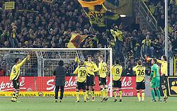 27.11.2010, Signal Iduna Park, Dortmund, GER, 1.FBL,  Borussia Dortmund vs Borussia Moenchengladbach, nach dem Sieg jubeln die Spieler tanzend vor den Fans in der Südkurve, EXPA Pictures © 2010, PhotoCredit: EXPA/ nph/  Scholz       ****** out ouf GER ******