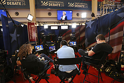 ST. LOUIS, Oct. 10, 2016 (Xinhua) -- Media staff work at the media center during the 2016 presidential debate in Washington University in St. Louis, Missouri, the United States, Oct. 9, 2016. The second of three U.S. presidential debates between the Democratic and Republican nominees Hillary Clinton and Donald Trump was held in Washington University on Sunday.  (Xinhua/Wang Ying) (wtc) (Credit Image: © Zheng Huansong/Xinhua via ZUMA Wire)
