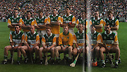 Offaly-All-Ireland Hurling Champions 1998. Back Row: K Martin, J Pilkington, M Duignan, K Kinahan, G Hanniffy, H Rigney, J Erity, B Whelahan. Front Row: B Dooley, J Troy, S Whelahan, S Byrne, Joe Dooley, M Hanamy, J Dooley.