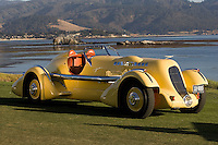 """PEBBLE BEACH, CA - AUGUST 19: The 1935 Duesenberg SJ Speedster also known as the """"Mormon Meteor"""" at the 2007 Pebble Beach Concours d'Elegance on August 19, 2007 in Pebble Beach, California.  Awarded the best of show in this years Concours, this car was driven by racer Ab Jenkins and set a land speed record in 1935, hitting an average speed of 135.58 miles per hour over a 24 hour period. (Photo by David Paul Morris))"""