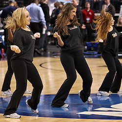 Mar 17, 2011; Tampa, FL, USA; UCLA Bruins cheerleaders perform at halftime of the second round of the 2011 NCAA men's basketball tournament game against the Michigan State Spartans at the St. Pete Times Forum.  Mandatory Credit: Derick E. Hingle
