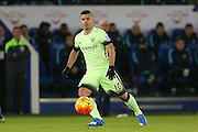 Manchester City forward Sergio Aguero  during the Barclays Premier League match between Leicester City and Manchester City at the King Power Stadium, Leicester, England on 29 December 2015. Photo by Simon Davies.