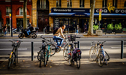 A cyclist in the Boulevard de Strasbourg, Toulouse, France<br /> <br /> (c) Andrew Wilson | Edinburgh Elite media