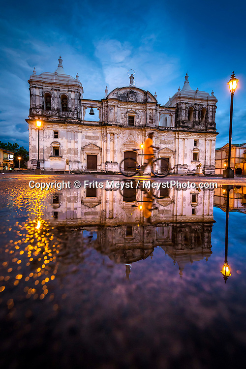 Leon; Nicaragua; May 2014. The Cathedral of Leon on Parque central. León is the second largest city in Nicaragua. It was founded by the Spaniards as León Santiago de los Caballeros and rivals Granada; Nicaragua; in the number of historic Spanish colonial churches; secular buildings; and private residences. Central America's largest and least populated country consists of lakes; volcanoes and Spanish colonial cities. Photo by Frits Meyst / MeystPhoto.com