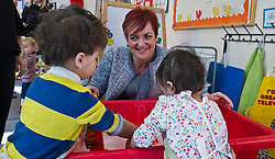 Pictured: Angela Constance, Communities Secretary joined  Ilyes Hamza and Jasmin Kair at the water tub.<br /> Today Communities Secretary  Angela Constance visited Dr Bells family centre, where she met staff and volunteers ahead of the first Tackling Child Poverty Delivery Plan being published.<br /> <br /> <br /> Ger Harley | EEm 29 March 2018