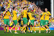London - Saturday, April 17th 2010: Norwich City celebrate the opening goal against Gillingham during the Coca Cola League One match at Carrow Road, Norwich..(Pic by Alex Broadway/Focus Images)