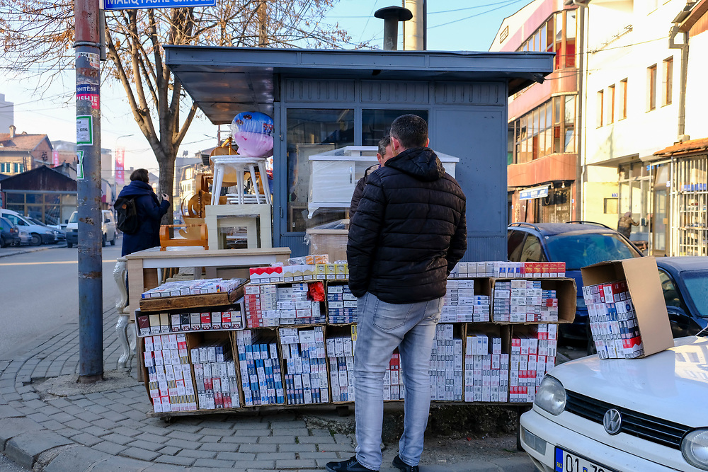 A street stall selling cigarettes to smokers on the 13th of December 2018, in Pristina, the capital and largest city of Kosovo, it has a mainly Albanian population along with other smaller communities.  (photo by Andrew Aitchison / In pictures via Getty Images)
