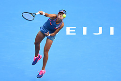 BEIJING, Oct. 3, 2018  Zhang Shuai of China serves during the women's singles second round match against Timea Babos of Hungary at China Open tennis tournament in Beijing, China, Oct. 3, 2018. Zhang Shuai won 2-0. (Credit Image: © Ju Huanzong/Xinhua via ZUMA Wire)