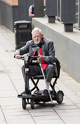 © Licensed to London News Pictures. 10/06/2019. Bristol, UK. TERRENCE BROWN (correct spelling) aged 86 arrives at Bristol Magistrates Court for sentencing after admitting charges of multiple rape. He is appearing at Bristol Crown Court via video link from Bristol Magistrates Court because the latter is more accessible for his mobility scooter. The pensioner was due to stand trial in July but pleaded guilty to the historical sexual abuse of a woman and teenage girl. Brown pleaded guilty to indecently assaulting the teenage complainant on six occasions and raping her on six occasions. He pleaded guilty to two sexual assaults on the woman. He denied further rape and sexual assault charges on them. The judge at the hearing in May told Brown that he would receive a custodial sentence. Photo credit: Simon Chapman/LNP.