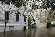Multi-million dollar historic homes surrounded by flood waters in historic downtown after Hurricane Matthew passed through causing flooding and light damage to the area October 8, 2016 in Charleston, South Carolina. The hurricane made landfall near Charleston as a Category 2 storm but quickly diminished as it moved north.