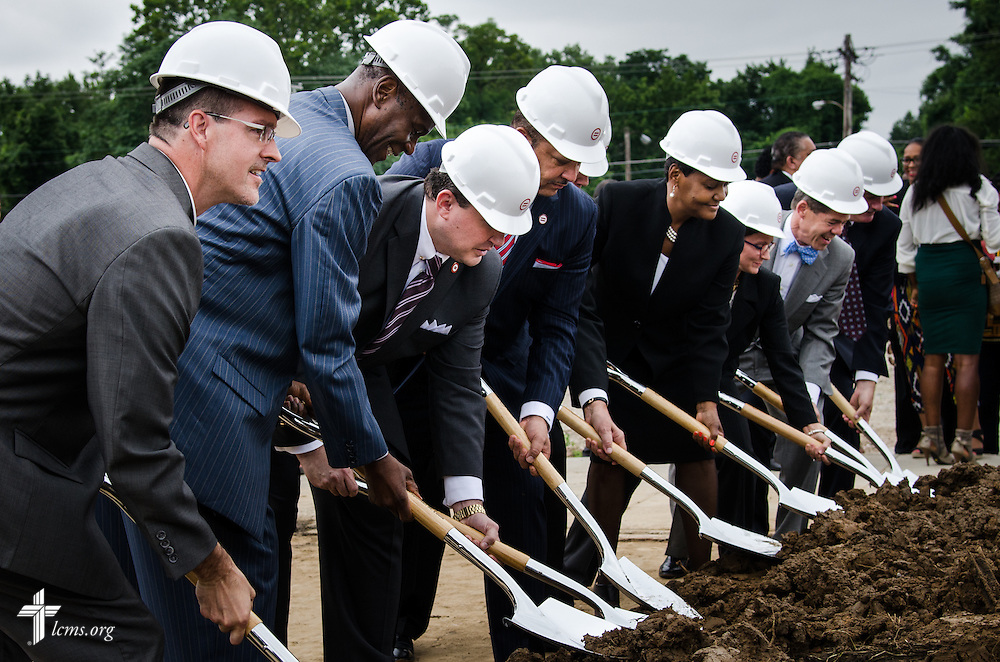 The Rev. Steve Schave, director, LCMS Urban & Inner-City Mission, was one of many dignitaries participating in the groundbreaking of a new community center on Thursday, July 9, 2015, in Ferguson, Mo. LCMS Communications/Frank Kohn