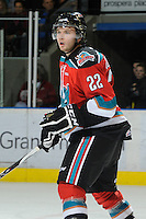 KELOWNA, CANADA, OCTOBER 22: Mackenzie Johnston #22 of the Kelowna Rockets watches the puck as  the Victoria Royals visited the Kelowna Rockets on October 22, 2011 at Prospera Place in Kelowna, British Columbia, Canada (Photo by Marissa Baecker/shootthebreeze.ca) *** Local Caption ***MacKenzie Johnston;