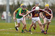 Leinster MHC at Dunganny, Trim, 12th March 2016<br /> Meath vs Westmeath<br /> Mickey Cullen / Peter Farrell (Meath) and Adam Ennis / Naoise McKenna / Kevin Reagan (Westmeath)<br /> Photo: David Mullen /www.cyberimages.net / 2016