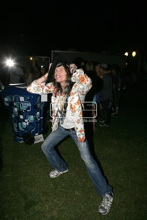 26th April 2008, Coachella, California. Aerosmith singer, Steven Tyler, at the Coachella Music festival. PHOTO © JOHN CHAPPLE / REBEL IMAGES