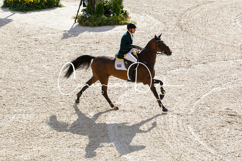 Oliver Lazarus, (RSA), Pour Le Poussage - Team & Individual Competition Jumping Speed - Alltech FEI World Equestrian Games™ 2014 - Normandy, France.<br /> © Hippo Foto Team - Leanjo De Koster<br /> 02-09-14