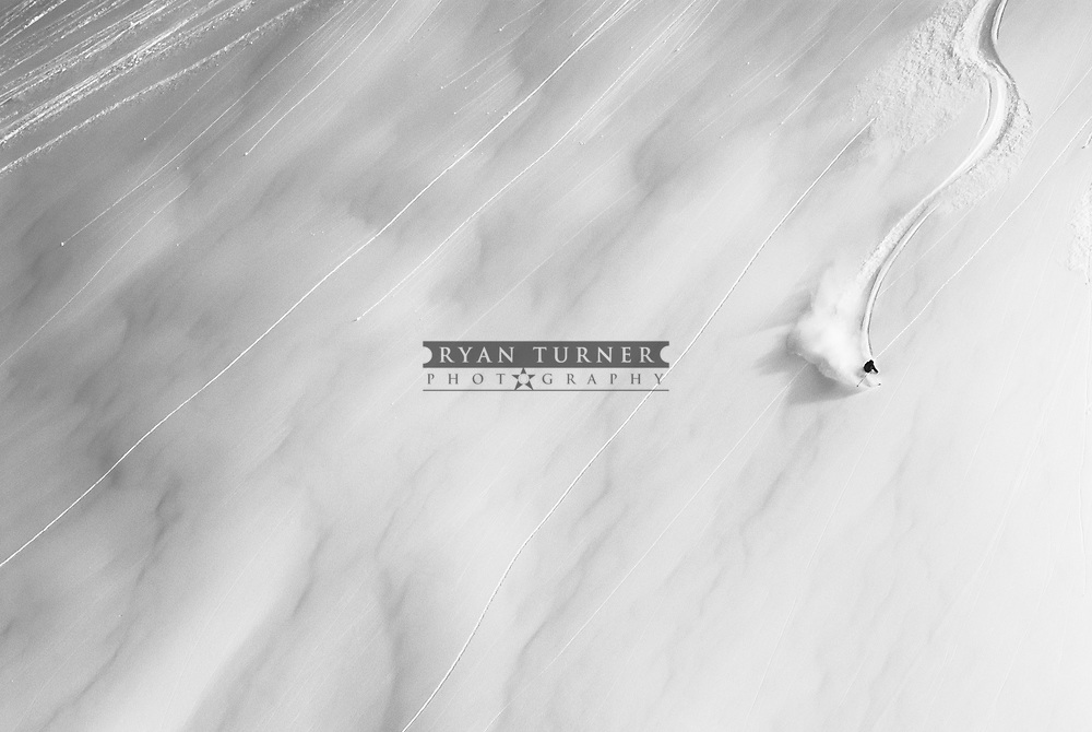 A skier making amazing ski line down a mountain near Haines, Alaska. Limited Edition - 75