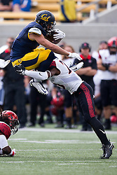 BERKELEY, CA - SEPTEMBER 12:  Running back Daniel Lasco #2 of the California Golden Bears is tackled by defensive back Damontae Kazee #23 of the San Diego State Aztecs during the first quarter at California Memorial Stadium on September 12, 2015 in Berkeley, California. (Photo by Jason O. Watson/Getty Images) *** Local Caption *** Daniel Lasco; Damontae Kazee