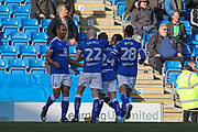 Celebrations as Chesterfield forward Chris O'Grady scores a goal (1-0) during the EFL Sky Bet League 2 match between Chesterfield and Swindon Town at the Proact stadium, Chesterfield, England on 24 February 2018. Picture by Aaron  Lupton.