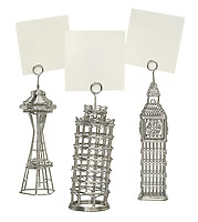 seattle eye, big ben and leaning tower of pisa metal wire photo and note holders