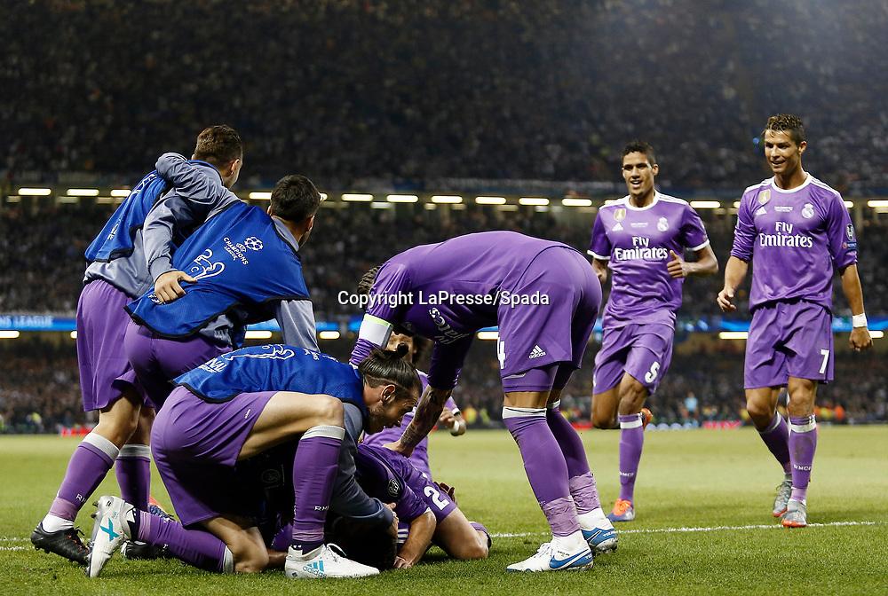 Foto LaPresse - Spada<br /> 03 Giugno  2017 Cardiff  ( Galles  )<br /> Sport Calcio<br /> Juventus - Real Madrid <br /> Champions League 2016 2017 - Finale<br /> Nella foto:  esultanza dopo il gol  Casemiro gol 1-2 , ronaldo<br /> <br /> Photo LaPresse - Spada<br /> 03, June  2017 Cardiff ( Wales )<br /> Sport Soccer<br /> Juventus -  Real Madrid  <br /> Champions League 2016 2017 - Final <br /> In the pic:  celebrates after scoring  Casemiro gol 1-2 ,ronaldo