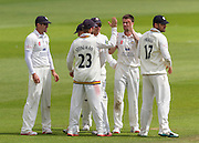 Jamie Harrison(Durham County Cricket Club)celebrates with team mates after taking the wicket of Tim Ambrose (Warwickshire County Cricket Club) during the LV County Championship Div 1 match between Durham County Cricket Club and Warwickshire County Cricket Club at the Emirates Durham ICG Ground, Chester-le-Street, United Kingdom on 15 July 2015. Photo by George Ledger.
