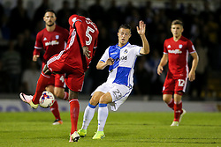 Billy Bodin of Bristol Rovers is challenged by Bruno Ecuele Manga of Cardiff City - Rogan Thomson/JMP - 11/08/2017 - FOOTBALL - Memorial Stadium - Bristol, England - Bristol Rovers v Cardiff City - EFL Cup First Round.