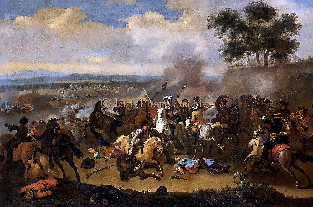 The Battle of the Boyne in Northern Ireland, between James II and William III, 11 June 1690. painting after Jan van Huchtenburg; between 1690 and 1733